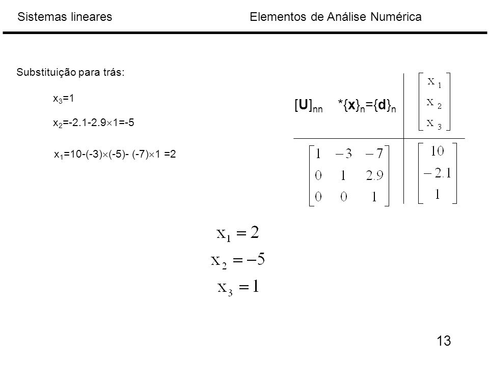 [U]nn *{x}n={d}n 13 Substituição para trás: x3=1 x2=-2.1-2.91=-5